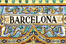 A0 SIZE barcelona spain  - CANVAS PRINT- murel tiles ART 841 x 1189 mm