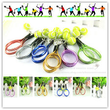 One Set of 10 Sport Mini Tennis Racket & Ball Model Key Ring Keychain Great Gift