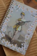 Floral Lady Glitter Art Deco Hand Made Notebook Blank Plain Spiral Bound Gift