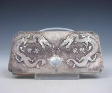 China .750 Silver (stamped) amulet/thanka (token) Double Dragon - end 18th.C