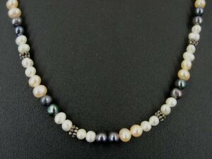Pink Grey White Pearl Silver Plate Beads Sterling Silver Clasp NECKLACE