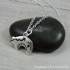Silver Heartline Bear Charm Necklace - Zuni Southwestern Bear Pendant Jewelry
