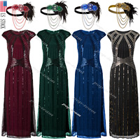 1920s Flapper Dress Gatsby Formal Evening Cocktail Maxi Dress Gown Plus Size