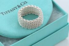 Tiffany & Co Somerset Sterling Silver Mesh Love Ring Size 8 w/ Box & Pouch