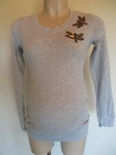 H&M MAMA MATERNITY GREY MARL SEQUIN DRAGONFLY JUMPER TOP SIZE XS 6-8