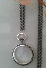 Magnifying Glass Statement Necklace pendant watch silver black chain long adjust
