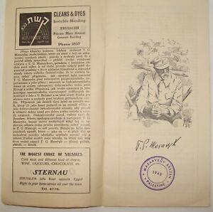 Jewish Palestine Israel 1943 Tomasz Masaryk Exhibition Booklet Czechoslovakia