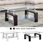 Modern Glass Chrome Coffee Table End Side Table w/ Shelves Living Room Furniture