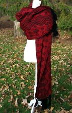 Fringed Cotton Rebozo Wrap Shawl Woven Pattern 6.25x2.4 Mexican Black Red