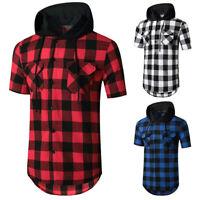 Herren Kurzarmhemd mit Kapuze Fitness Sport T-Shirt Top Flanell Fleece T-Shirt