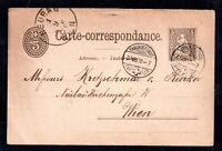 Switzerland 1878 Postcard to Wien + 5c stamp WS16430