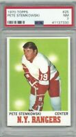 1970 Topps hockey card #25 Pete Stemkowski New York Rangers graded PSA 7