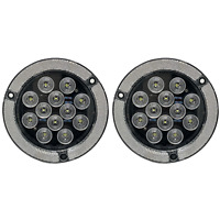 "4"" Inch White 12 LED Round Flange Mount Reflex Ring Reverse Truck Light - Qty 2"