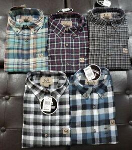 2 Mens Realtree Camo Button Up Plaid Flannel Shirt Blues Blacks M L XL