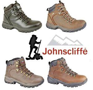 Hiking Walking Boots JOHNSCLIFFE® Waterproof Leather Mens Boys Black Brown