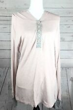 Venus Women's Hoodie Pastel Pink Gray Button Up Long Sleeve Top Size Large