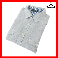 Tommy Hilfiger Mens Linen Shirt XL Striped White Blue Long Sleeve Casual Summer