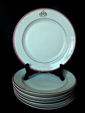 6 assiettes plates en Porcelaine de Paris XIXème Napoléon III monogramme AO