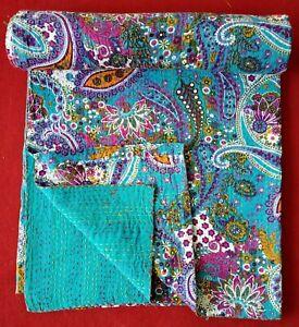 Indian Handmade Queen/Twin Cotton Kantha Quilt Throw Blanket Bedspread Paisley