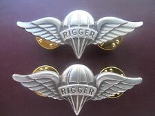 Airborne Rigger Jump Wing Badge Lot Insignia US Army Parachute Pin Pair OK075