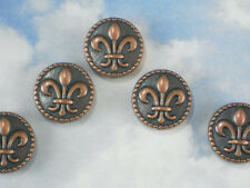8 Fleur de Lis Coin Beads Copper Tone 16mm ToP to BoTTOM Hole 2 Sided #P1477
