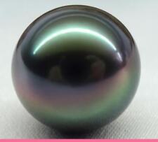 Huge 14mm genuine Tahitian round black peacock redish loose pearl half drilled