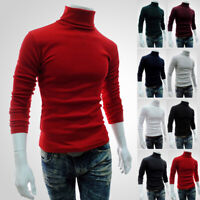 Men's Winter Warm Cotton High Neck Pullover Jumper Sweater Tops Turtleneck NEW
