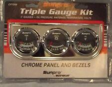 "2"" Mechanical Triple Gauge Kit Black Gauge Face Chrome Bezel Cp7996Os"