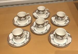 Crown Ducal Orange Tree Set of 6 coffee cans and round saucers