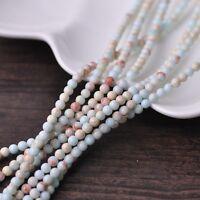 100pcs 4mm Round Natural Stone Loose Gemstone Beads Pale Blue Imperial Jasper