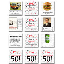 "Happy 50th Birthday (Age 50) ""1967"" Party Supplies FUN FACTS DRINK COASTERS"