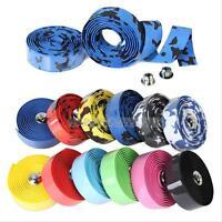 2X Road Cycling Bicycle Handlebar Cork Bar Grip Ribbon Wrap Tapes + 2 Bar Plug