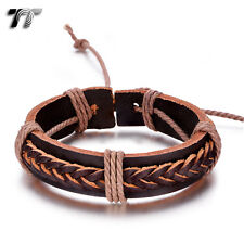 Quality TT Thick Brown Leather Bracelet Wristband (LB319) NEW