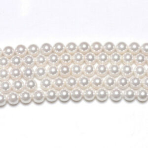 Wholesale White Shell Pearl Beads Plain Round 8mm 3 Strands Of 45+
