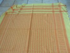 """NWOT Large Hand Woven Yellow/Orange Checked Scarf 100% Cotton, India, 45"""" Square"""