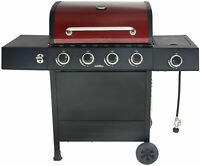 4-Burner Gas Grill with Side Burner Outdoor Stainless Steel Propane Barbecue BBQ