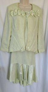 Elite Champagne 3 Piece Dress Suit Skirt Top Jacket Green Rhinestones Size 12