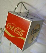 "Coca Cola Rotating Aluminum Cube Lantern 9.5"" Lighted Open Sign"