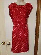 Talbots Red Polka Dot Drop Waist Casual Shift Dress, Size L