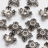 100Pcs Tibet Silver Flower Spacer Bead Caps Jewelry Making DIY Acces 6x2mm