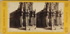 Italien Syracuse Tempel Merkur c1865 Kirche Foto Sommer Stereo Albumin