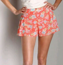 Free People Women's Floral Chiffon Shorts ~ Coral ~ Size 6 / W31 ~ NWOT