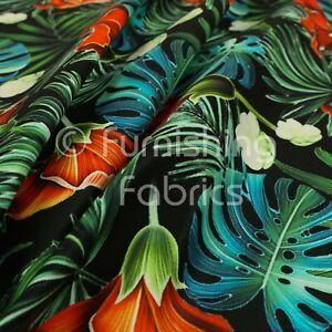 Full Black All Over Jungle Leaf Floral Pattern Velour Velvet Upholstery Fabrics