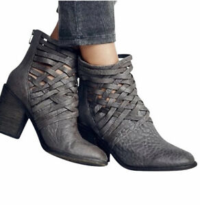 Free People Grey Distressed CARRERA Boots Cage Booties Size 38 US 8