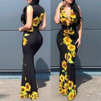 ❤️ Women's Boho Sunflower Maxi Dress Ladies Summer Beach Party Long Kaftan Dress