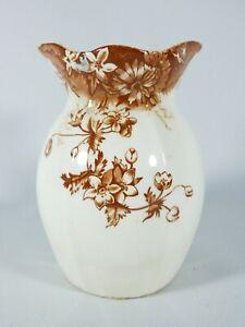 Antique Victorian Edwardian 1900 Pottery Toothbrush Holder Vase Brown Floral AF