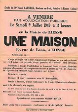 AISNE (02) / LIESSE / VENTE D'UNE MAISON EN 1949