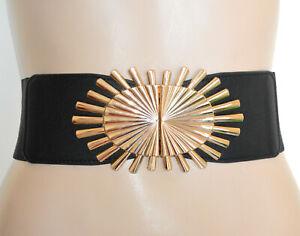 CINTURA NERA ORO donna stringivita cinturone dorata bustino fascia elastica G68
