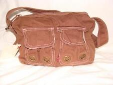NWT BROWN DENIM LEVI RED TAB SHOULDER PURSE~ LINED~PINK STITCHING~FREE US SHIP