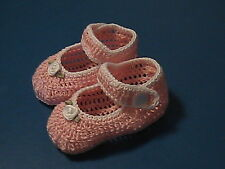 CROCHET HANDMADE BABY GIRL DOLL BOOTIES SHOES PINK & WHITE MARY JANE